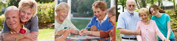 elderly couples smiling